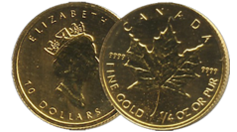 Canadian Gold Maple Leaf -$10 Dollar
